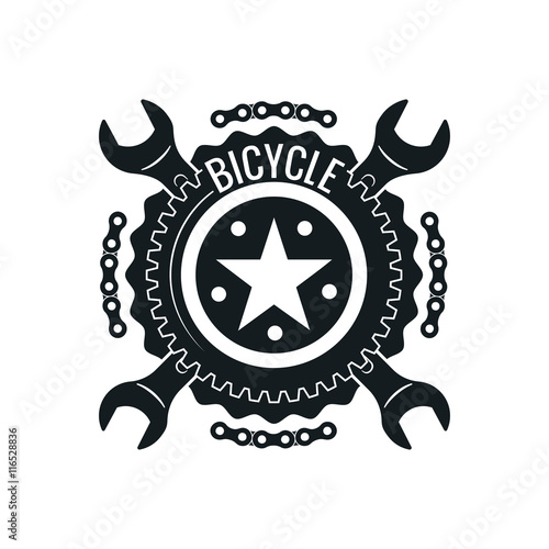 Vintage bike repair logo badges and labels  Cycle wheel isolated