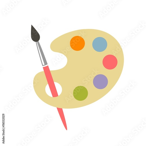 colorful brush and palette icon Canvas-taulu