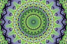 Green Kaleidoscope Abstract Ornament. Shape Like Mandala