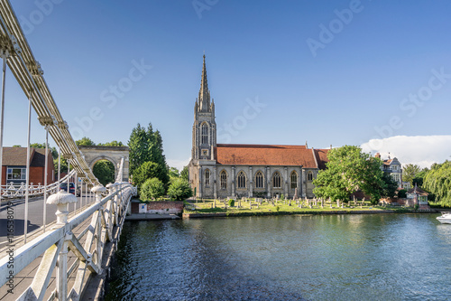 The town of Marlow on the River Thames north west of London Wallpaper Mural