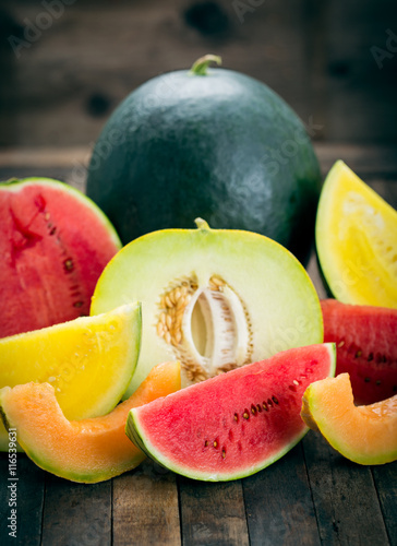 Photo  Fresh watermelons and melons