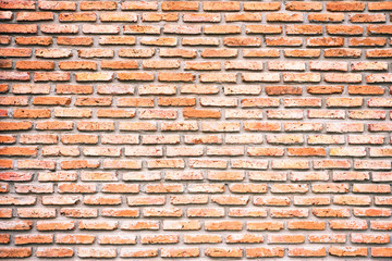 Wall of brown brick block construction, background and pattern