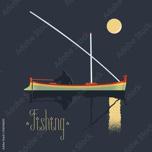 Fotografie, Obraz  Fisherman fishing at night vector illustration