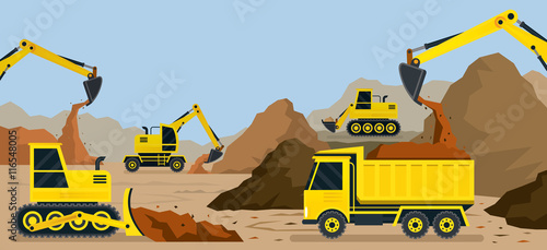 Construction Earthworks Quarry Background Vehicles Heavy Equipment On Site