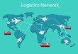 Logistics network Flat 3d isometric vector illustration Set of air cargo trucking rail transportation maritime shipping On-time delivery Vehicles designed to carry large numbers of China cargo