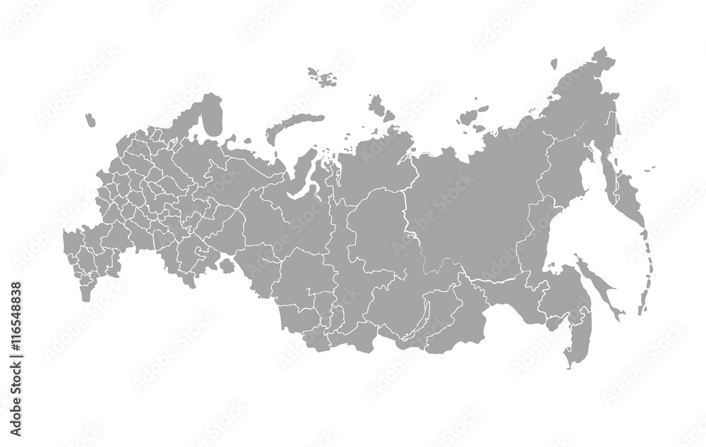 Fototapety, obrazy: Vector map of Russian Federation on white background