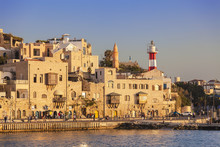 View Of The Old Jaffa Port At Sunset, Tel Aviv, Israel