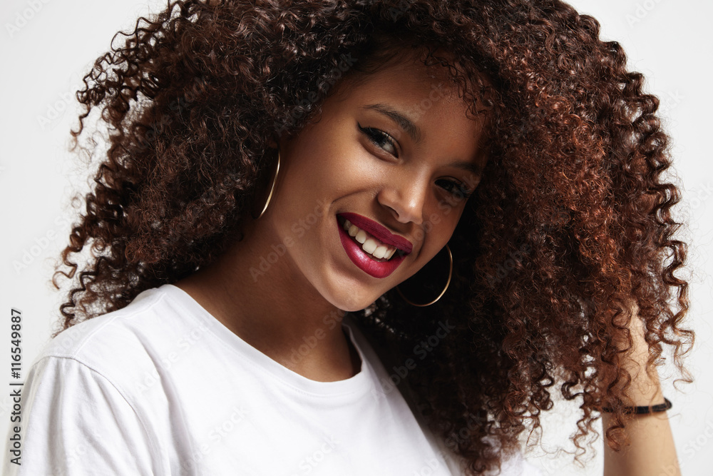 beauty smiling black woman with amazing afro curly hair Poster