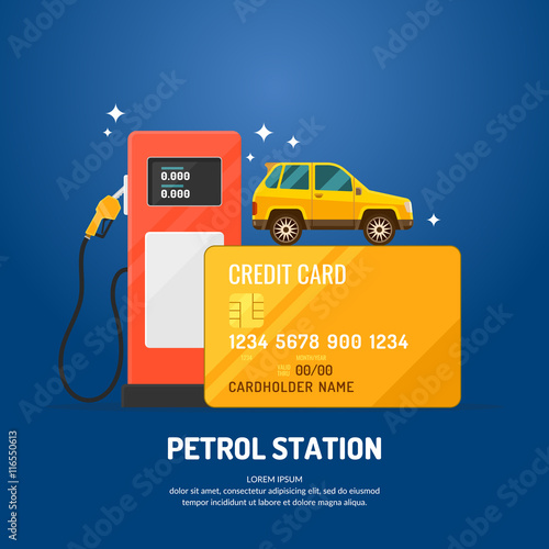 Bright advertising poster on the theme of gas station. Fototapeta