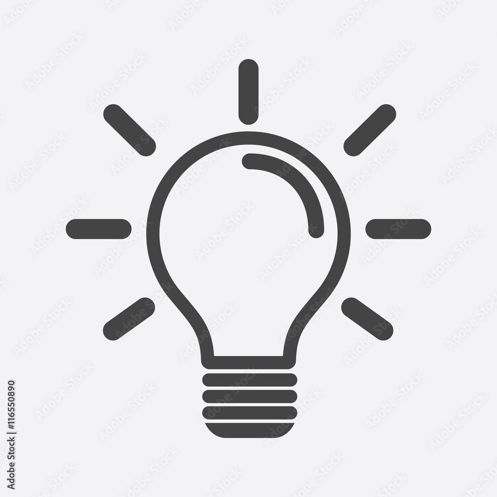 Fototapeta Light bulb icon in white background. Idea flat vector illustration. Icons for design, website.