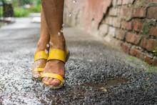 Women's Feet Under The Rain Dr...