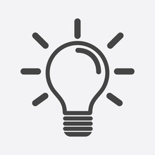 Light Bulb Icon In White Background. Idea Flat Vector Illustration. Icons For Design, Website.