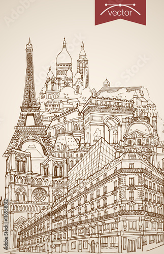 Photo  Engraving vintage hand drawn vector France Paris travel Sketch