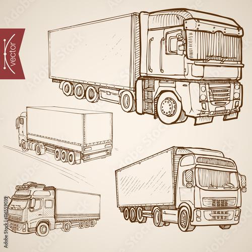 Engraving vintage hand drawn vector delivery transport Sketch Wallpaper Mural