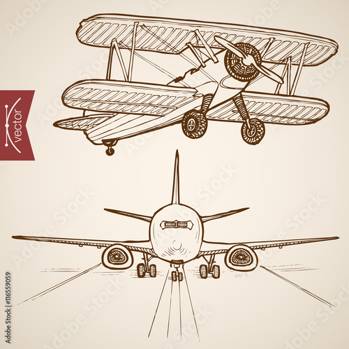Engraving vintage hand drawn vector Air transport plane Sketch Canvas-taulu