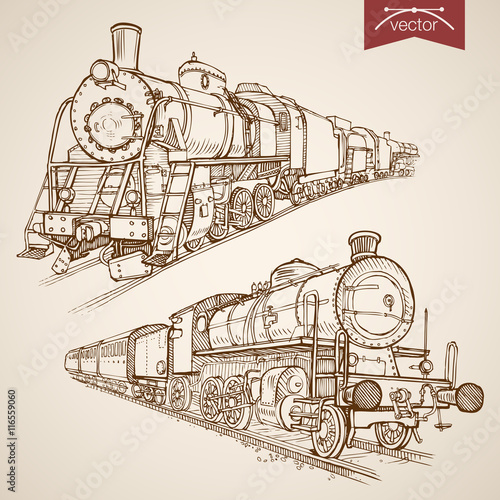 Engraving vintage hand drawn vector train transport Sketch Canvas-taulu