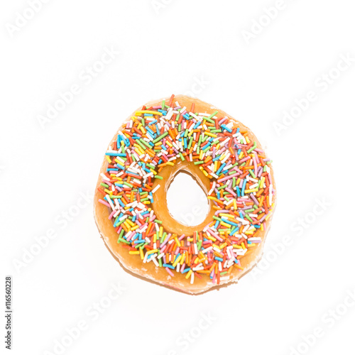 Photo  glazed donut, view form the top,  isolated on white background