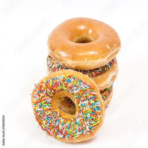 Photo  Colorful glazed donuts, isolated on white background