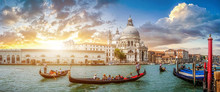 Romantic Venice Gondola Scene On Canal Grande At Sunset, Italy