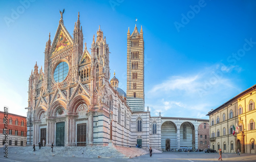 Famous Piazza del Duomo with historic Siena Cathedral, Tuscany, Italy