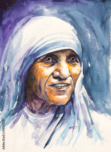 26 July 2016 Portrait of Mother Teresa also known as Blessed Teresa of Calcutta Canvas-taulu