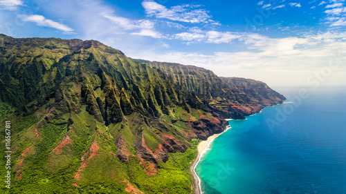 Poster Cote Aerial landscape view of spectacular Na Pali coast, Kauai