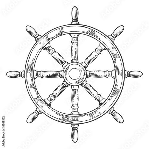 Fotografía  Ship wheel isolated on white background