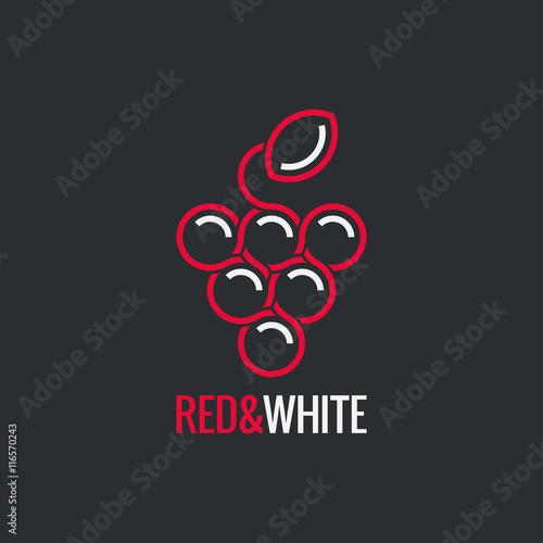 Bunch of grapes. Wine logo design background. Fototapete