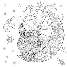 Cute Owl On Christmas Half Moon