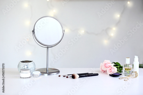 Cosmetic set on light dressing table Wallpaper Mural
