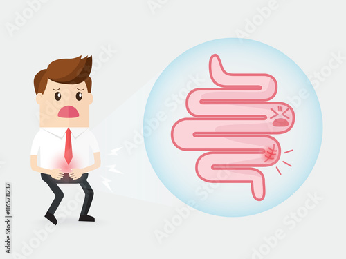 Αφίσα  businessman has a stomach ache with intestinal