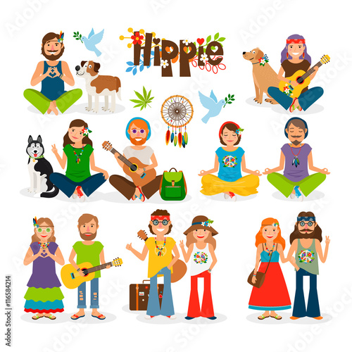 Hippie vector illustration фототапет