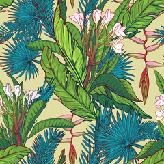 Tropical jungle seamless pattern