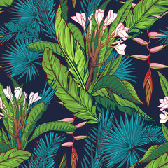 FototapetaTropical jungle seamless pattern on dark blue background