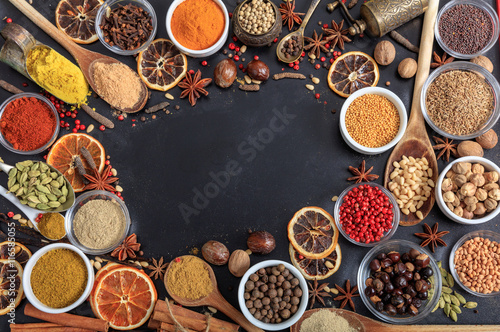 Printed kitchen splashbacks Spices Composition of spices with a copy space