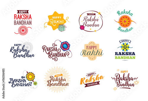 Fotografering  Happy Raksha Bandhan emblems set.