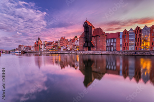 Tuinposter Stad aan het water Gdansk old town with harbor and medieval crane in the evening