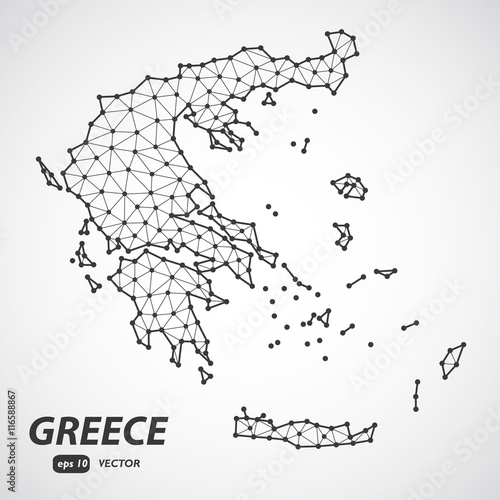 Detailed Greece map vector. Low poly style vector. Connection ...