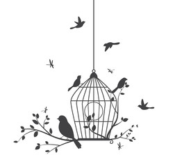 Fototapeta Skandynawski Birds silhouette with tree and birdcages