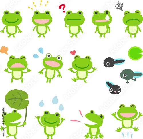 Fotografie, Obraz  カエルのキャラクターのイラストセット