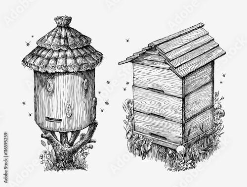 Wooden hives Wallpaper Mural