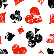 Vector Seamless Patterns With Icons Of Playings Cards. Creative Geometric Red, Black, White Grunge Backgrounds. Texture With Cracks, Scratches, Attrition. Series Of Gaming, Gambling Seamless Patterns.