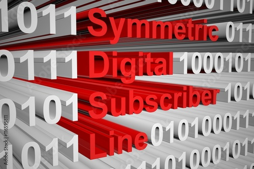 Fotografija  Symmetric Digital Subscriber Line in the form of binary code, 3D illustration