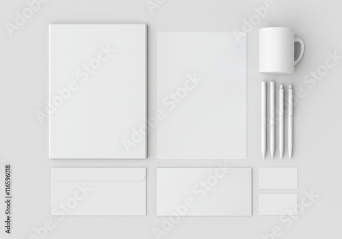 Fotografía  White stationery mock-up, template for branding identity on gray background