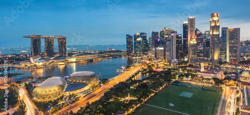 Singapore city skyline during twilight time