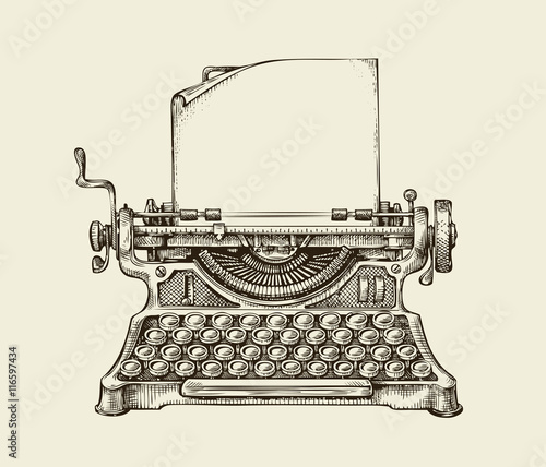 Hand drawn vintage typewriter. Sketch publishing. Vector illustration