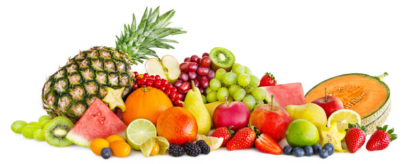 Fruits and white background