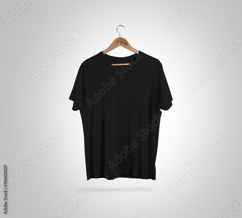 Blank Black T Shirt Front Side View On Hanger Design Mockup Clipping Path