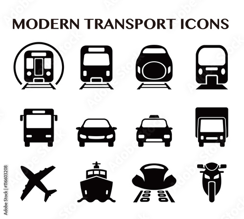 Photo various transportation icon set, including cars, trains, subway, monorail, linea