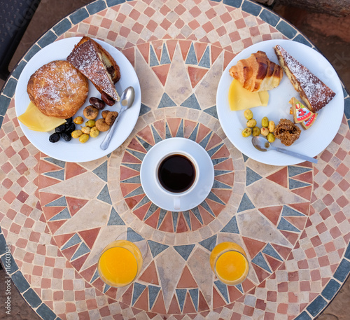 Poster Maroc Typical traditional breakfast in Morocco hotels